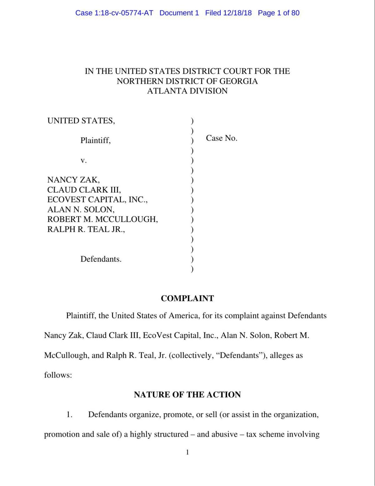 DOJ Complaint against EcoVest (PDF)