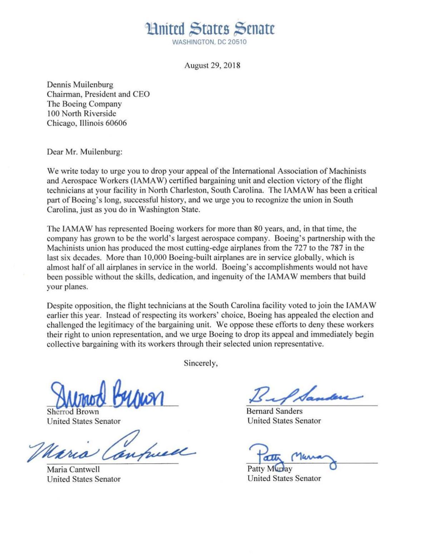 US Senators letter to Boeing