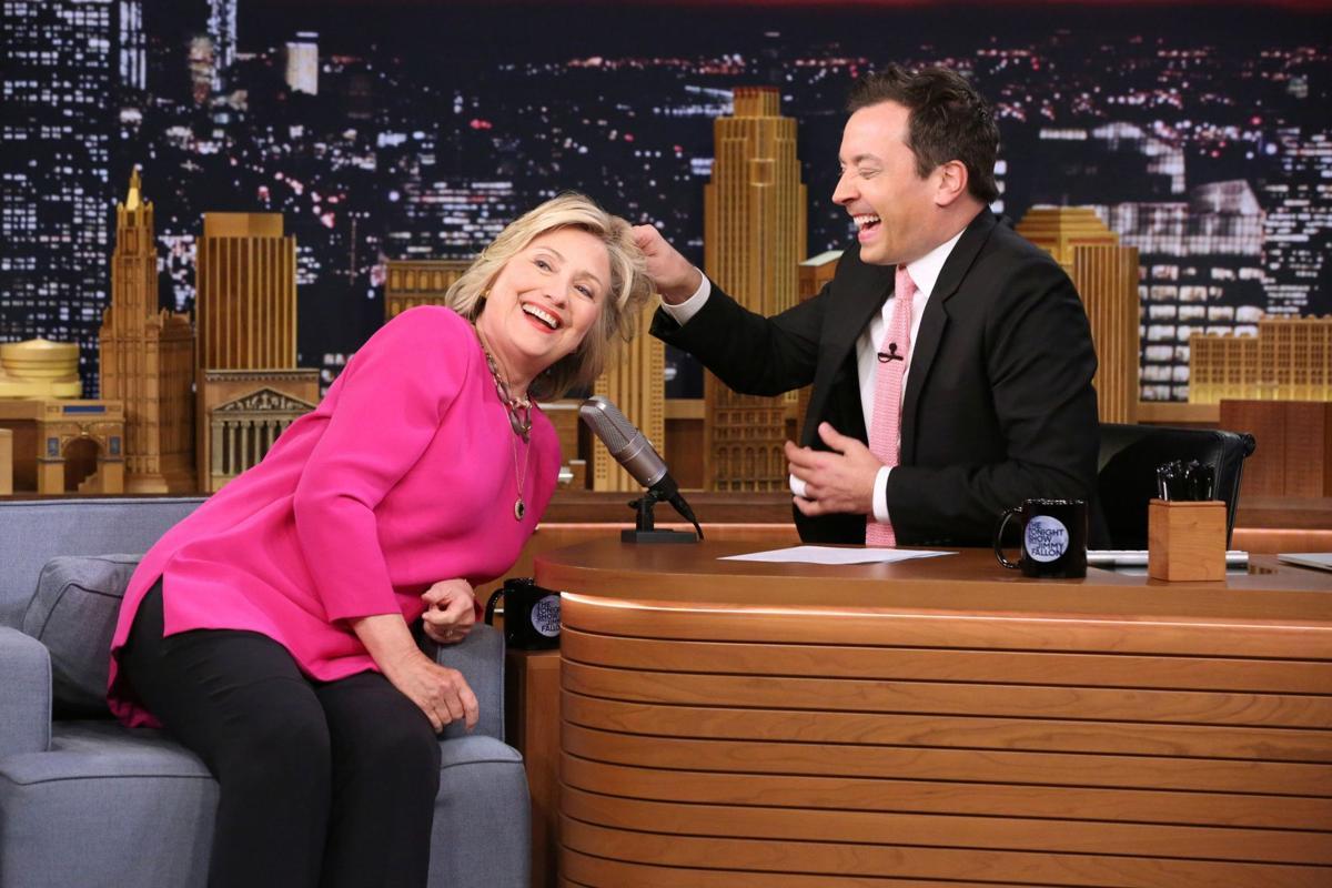 Trump test: Clinton lets Jimmy Fallon tug on her hair