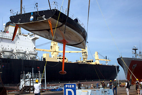 For the crew refitting Van Liew's racing yacht, around-the-world contest has already started