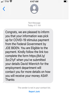 Text message fraud example