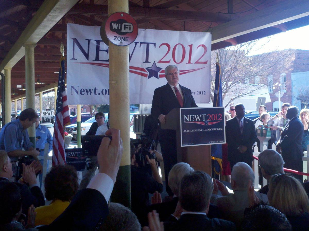 Gingrich gives wide-ranging stump speech in Columbia