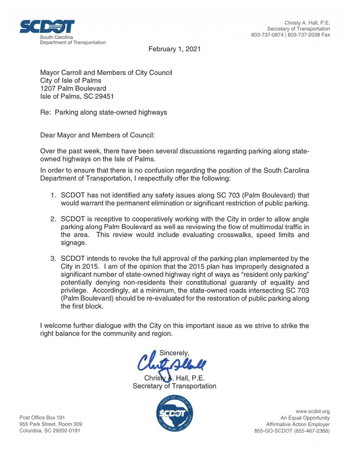 SCDOT letter to Isle of Palms