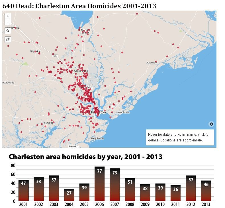Interactive graphic shows location of every Lowcountry killing in last 12 years