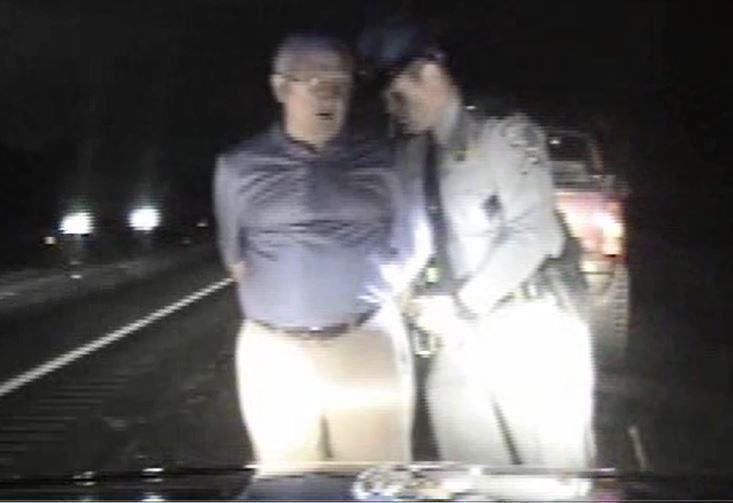 Paul Campbell handcuffed dashcam