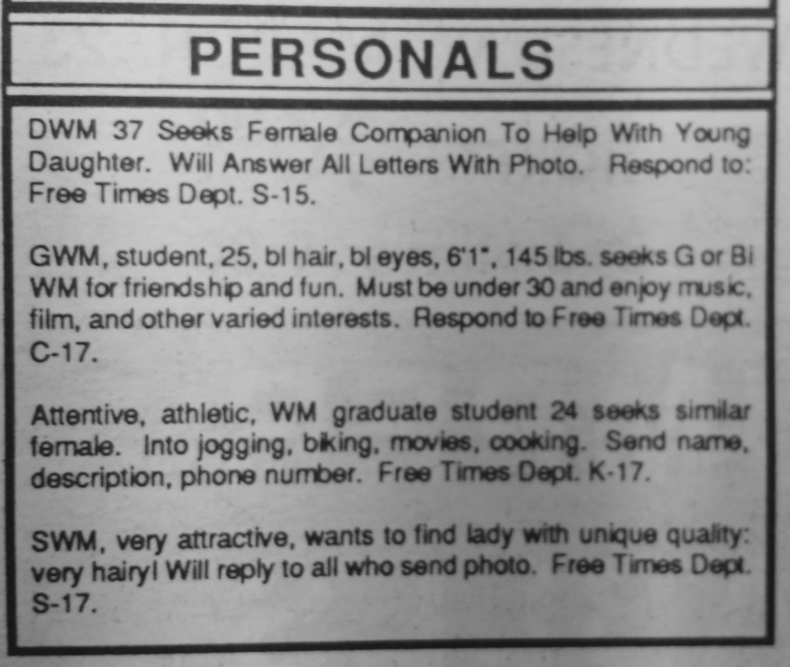 Gay abbreviations in personal ads