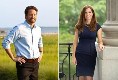 Joe Cunningham and Nancy Mace campaign images side by side