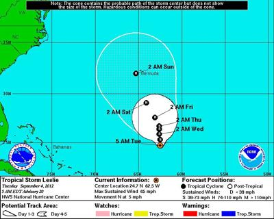 Tropical Storm Leslie moves north in Atlantic