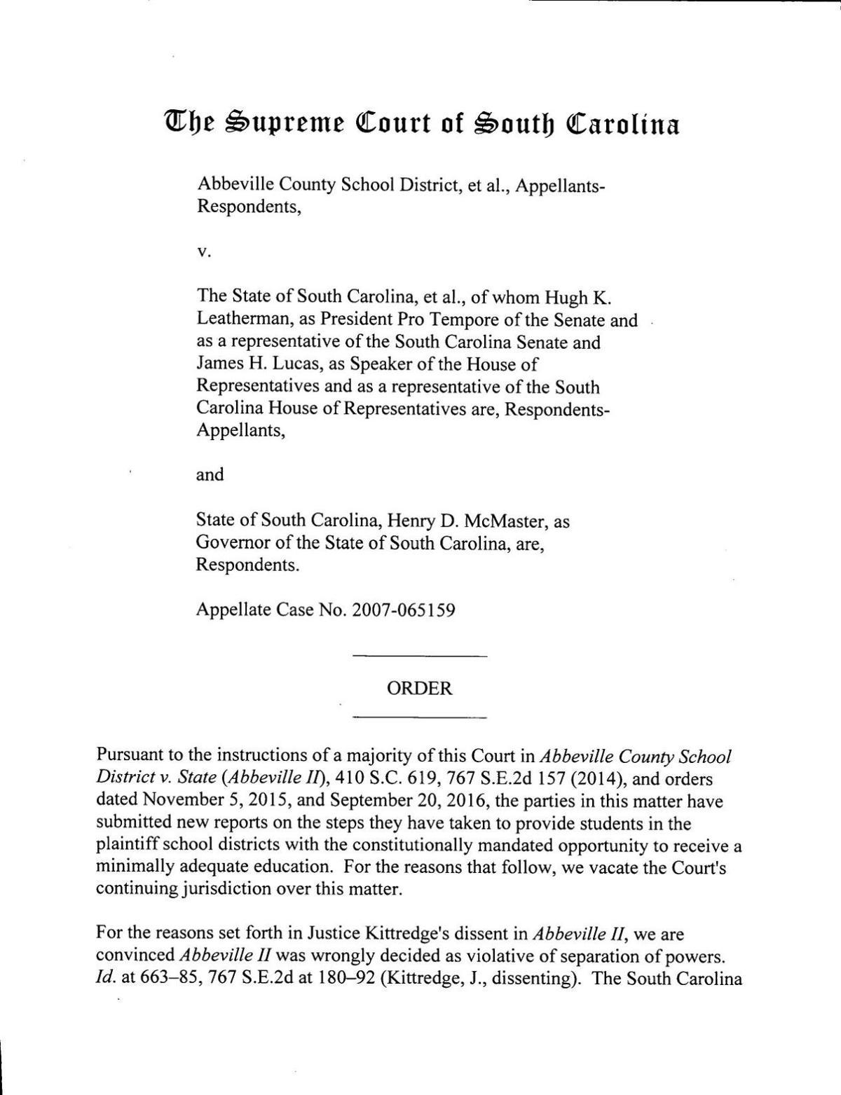 S.C. Supreme Court ruling ending Abbeville education lawsuit