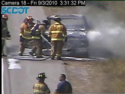 Car fire on I-26 westbound