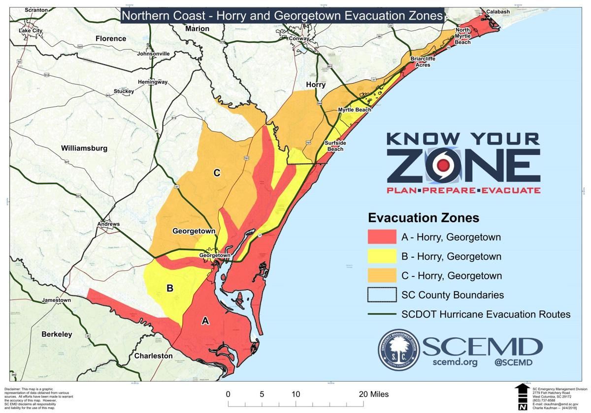 Myrtle Beach area evacuation zones