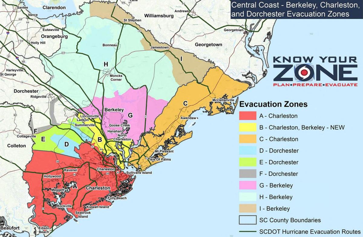 Charleston-area evacuation zones