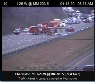 Tractor-trailer fire I-26 eastbound