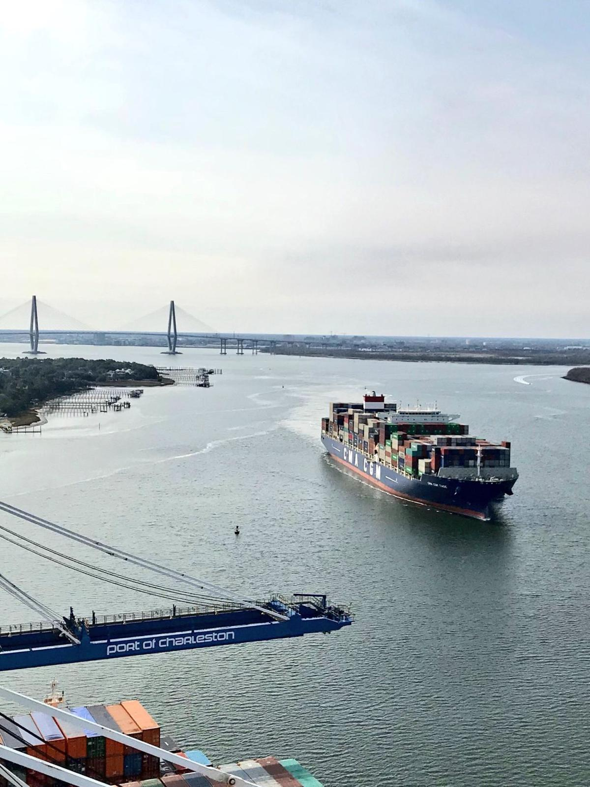 Container ship at Port of Charleston