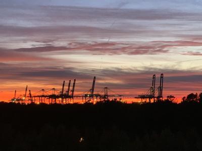 Wando Welch Terminal at dusk