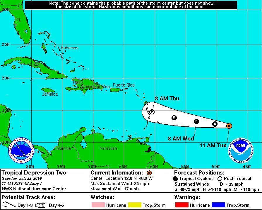 Tropical depression moving westward in Atlantic