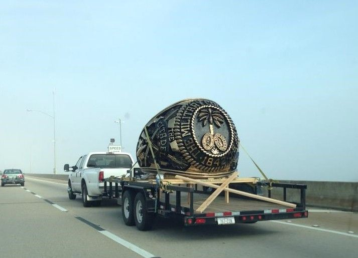 Citadel ring monument on its way to Texas for repair work