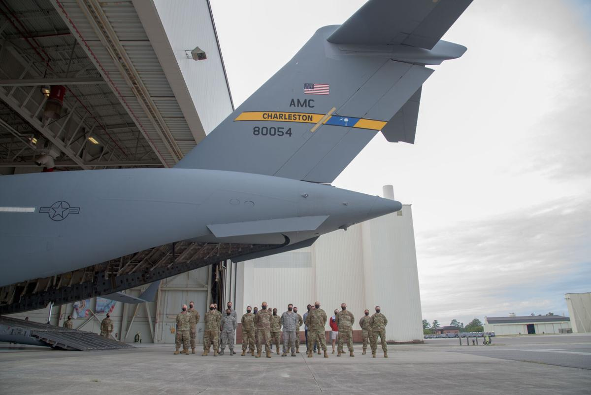 315th AW holds mass enlistment ceremony aboard JB Charleston C-17