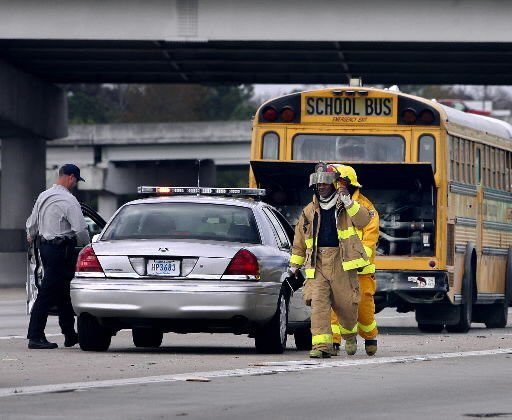 School bus catches fire on I-26