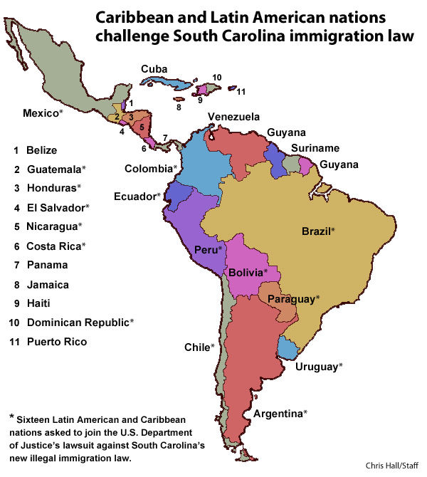 Latin American, Caribbean nations challenge South Carolina immigration law