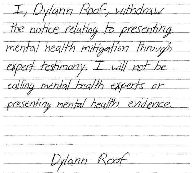 Dylann Roof mental health evidence note to judge
