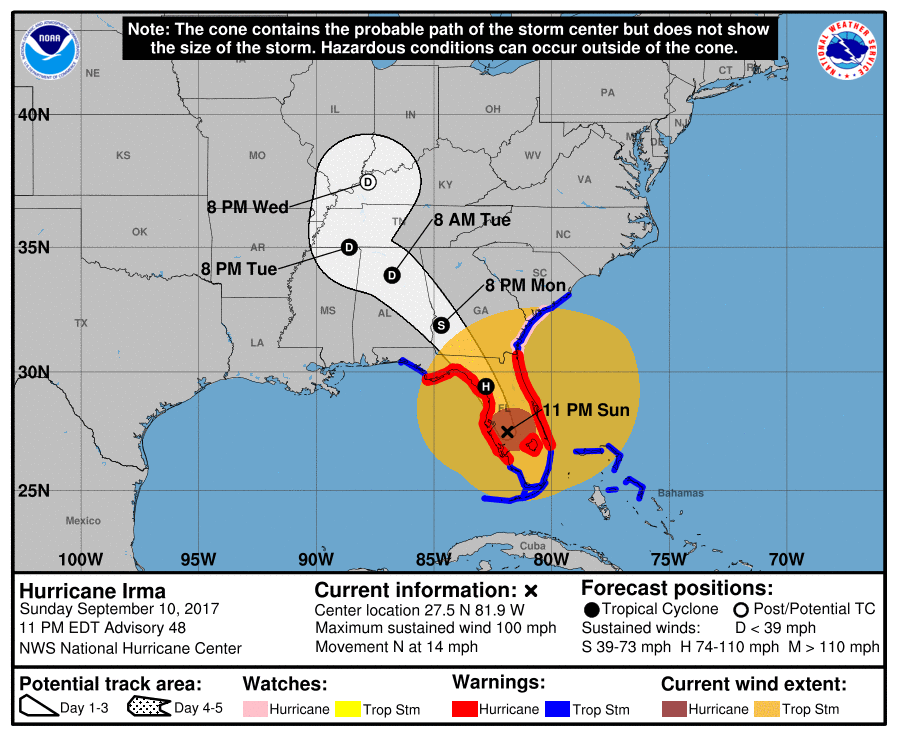 Hurricane Irma On GeorgiaAlabama Track But Winds Rain And Flood - Georgia map for hurricane irma