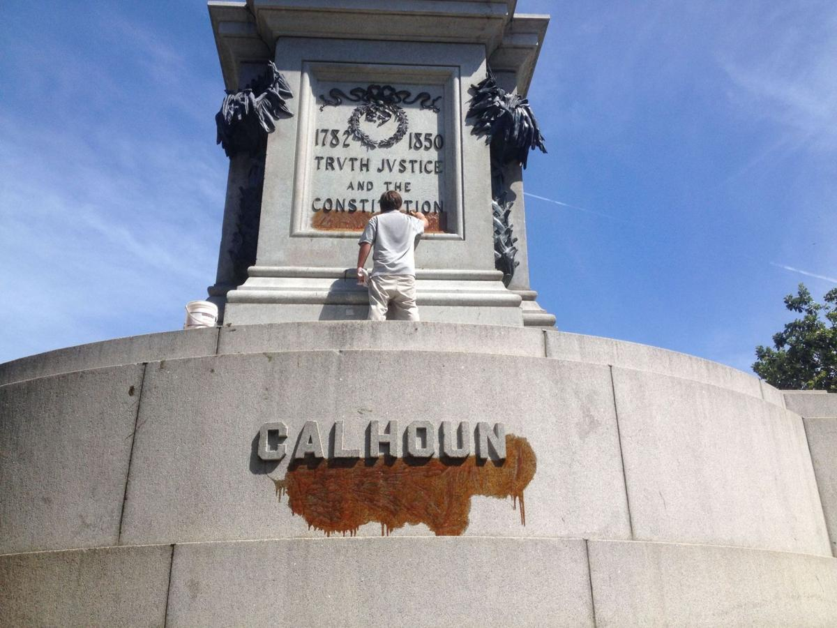 Second Charleston statue vandalized following shooting at Emanuel AME Church