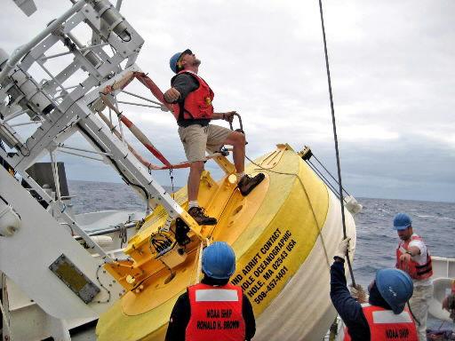 NOAA vessel buoys' lifeline