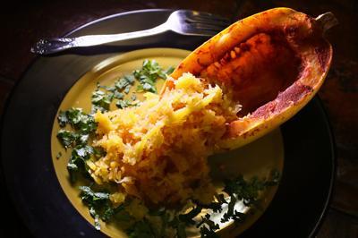 Thanksgiving tandoori spaghetti squash kitchen cabinet Indian dishes.jpg