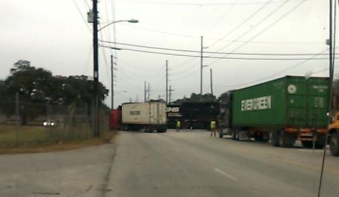 Truck, train collide on Remount Road