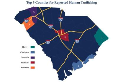 Map of top trafficking counties