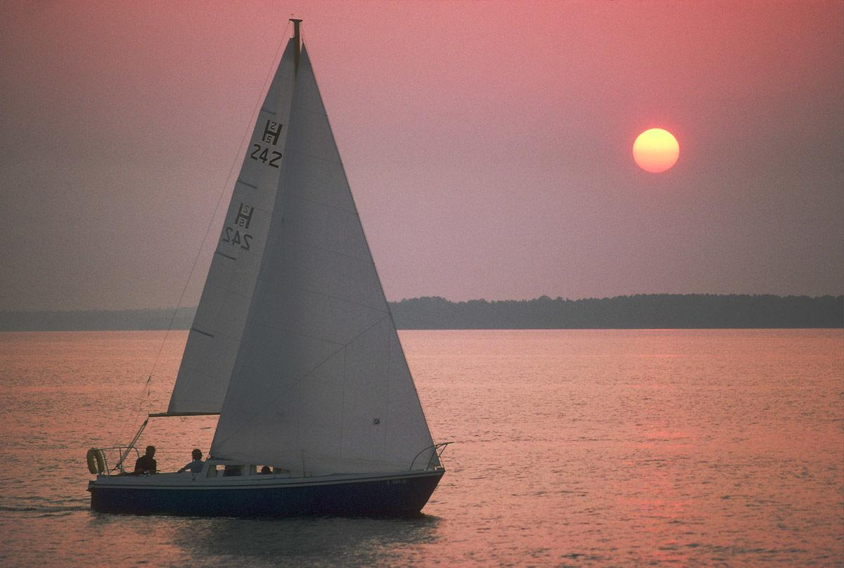 Lake Murray sunset sailboat