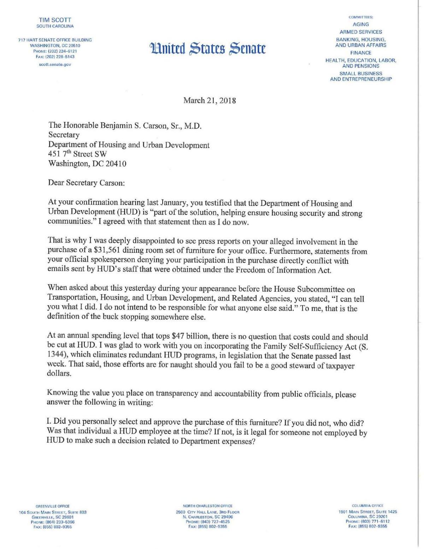 Sen  Tim Scott letter to HUD Secretary Ben Carson