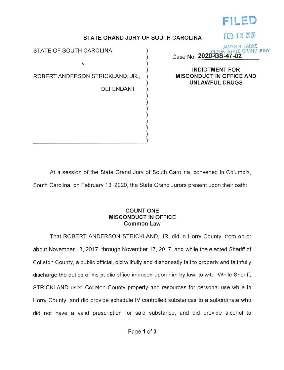 Andy Strickland indictments