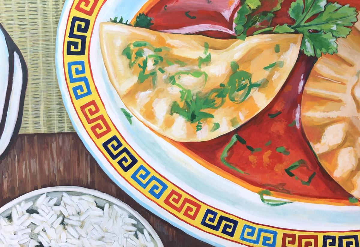 rachel nerney paints a plate inspired by the crescent dumplings at charleston restaurant kwei fei for two top