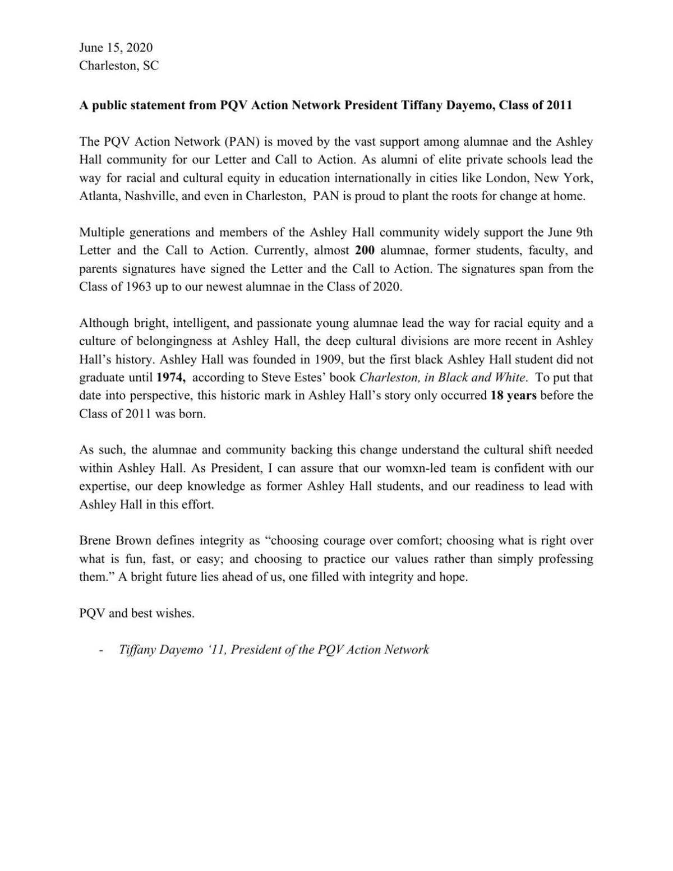 PAN public statement