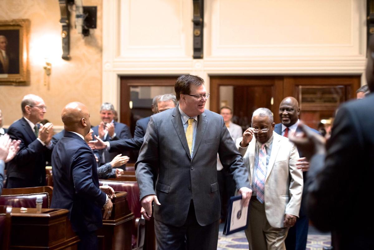 Jay Lucas walking in after re-election as speaker