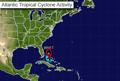Tropical Storm Bret drifts northeast off Bahamas