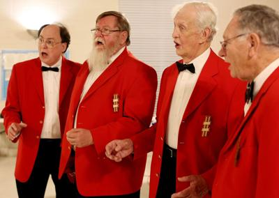 Barbershop sentiments a high note for sweethearts on Valentine's Day Group's snazzy quartets deliver love, harmony