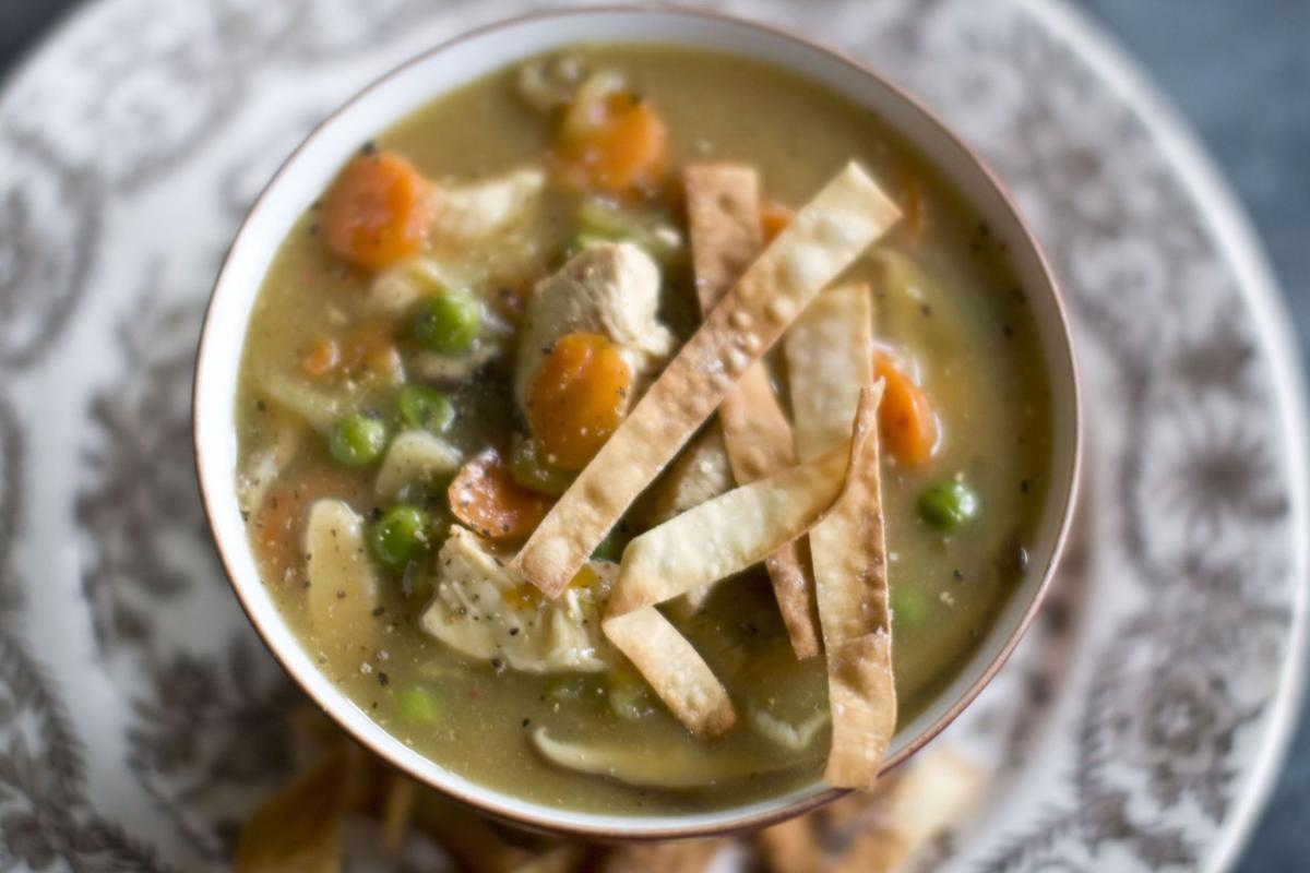 Chicken soup with Chinese influences