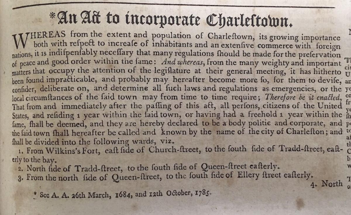 August 13, 1783 - From Charlestown to Charleston