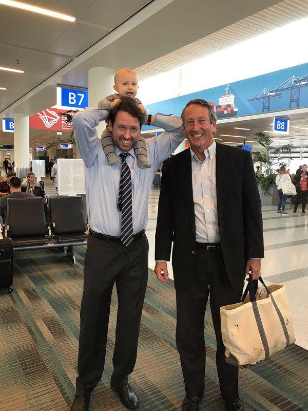 Joe Cunningham and Mark Sanford at airport