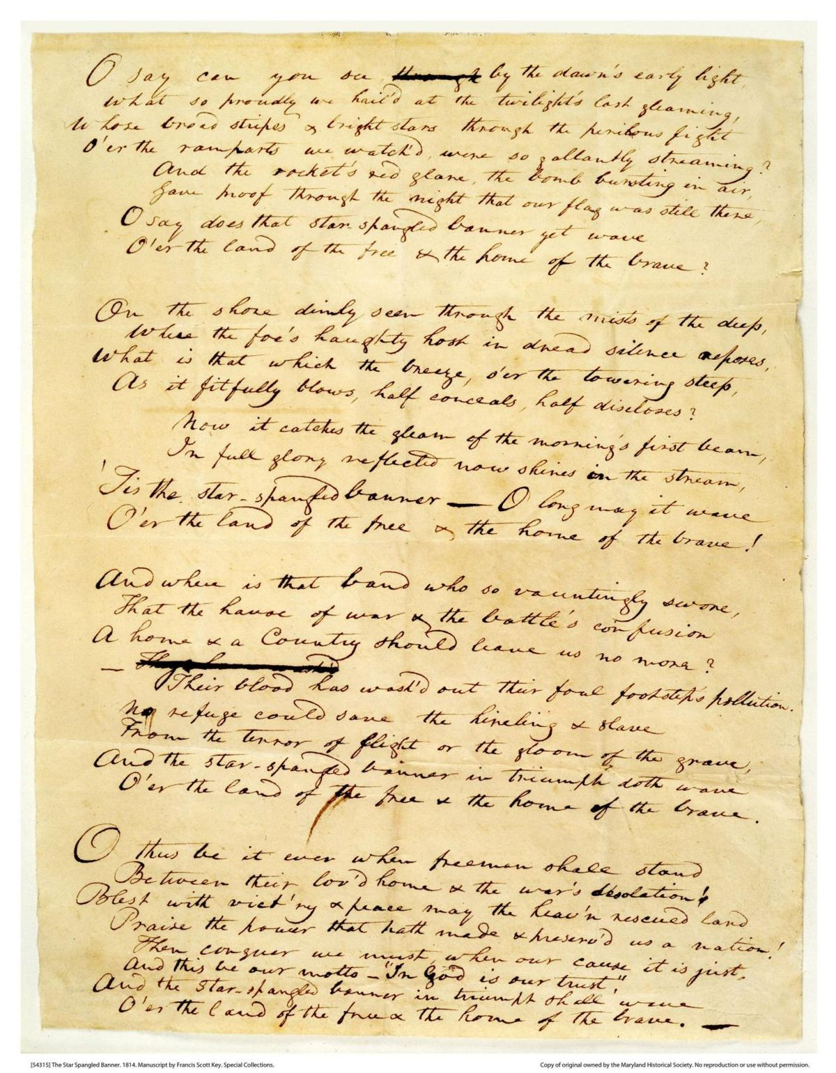 Star-Spangled Banner manuscript and flag that inspired it to be displayed side-by-side at Smithsonian