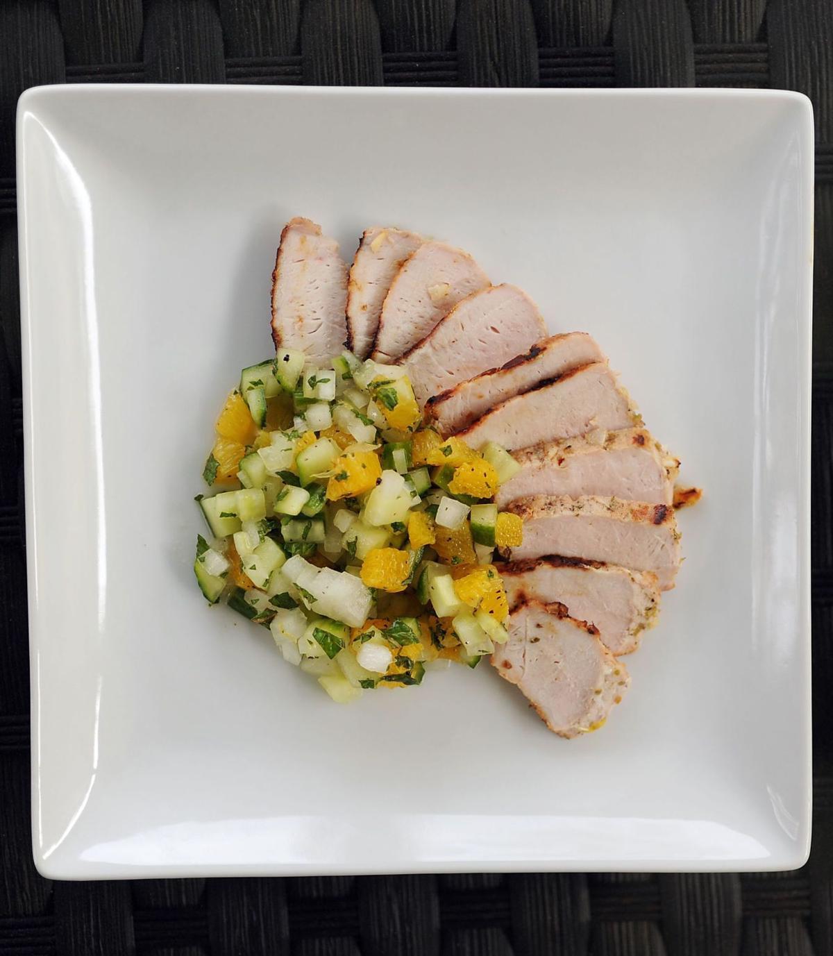 Cool cucumber balances garlic in tasty pork dish