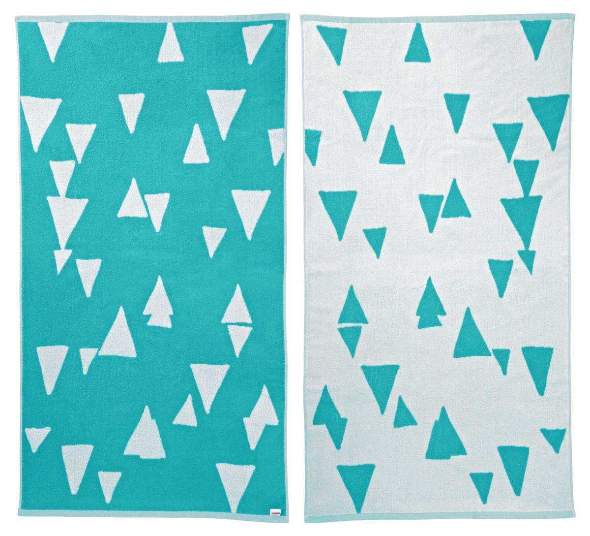 Big, colorful beach towels offer summer snap