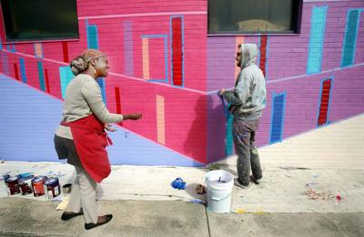 New library mural 'a really bright, colorful reminder' of Cynthia Hurd