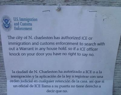 North Charleston police warn of phony pamphlets alleging ICE could enter homes without warrant