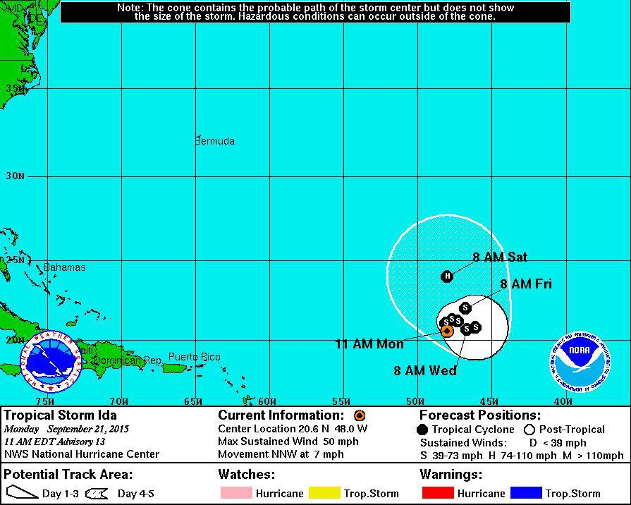 Tropical Storm Ida strengthening in the Atlantic