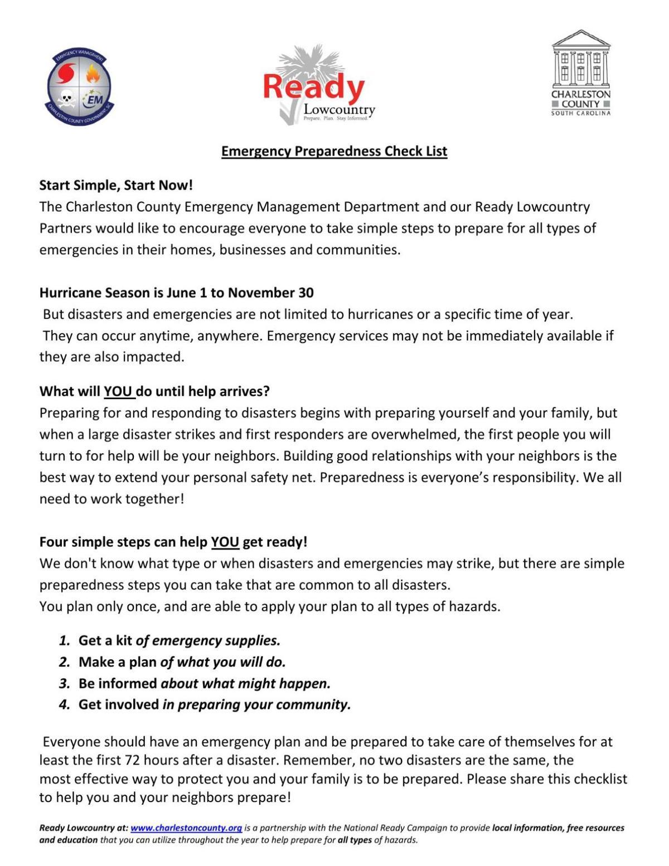 Emergency Preparedness Checklist Hurricane Guide