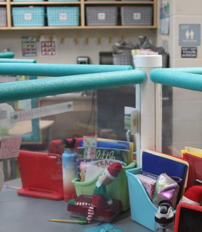 Classroom with plexiglass barrier